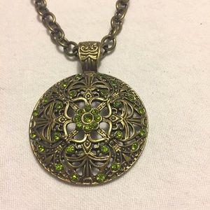 NEW HANDMADE burnished metal pendant necklace